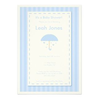Delicate Blue Umbrella Boy Baby Shower Invitation