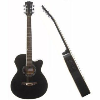 Single Cutaway Elektro Akustik Gitarre schwarz Alle