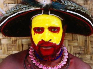 Man from Egele Tribe Wearing Face Paint at Enga Cultural Show, Papua New Guinea Photographic Print by John Banagan
