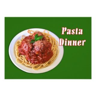 Spaghetti & Meatballs Pasta Dinner Custom Announcement