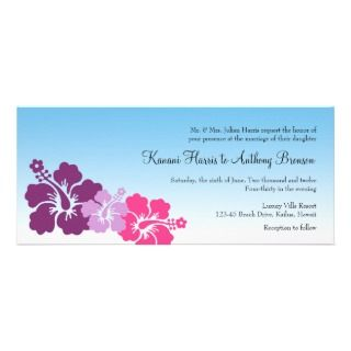 Hawaiian hibiscus flowers purple violet wedding invites