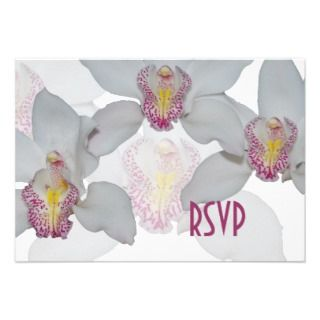 White Orchid RSVP Cards Custom Invitations