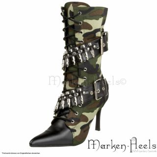 FUNTASMA   SEXY MILITARY STIEFELETTEN, CAMOUFLAGE, HIGH HEELS, GR. 36