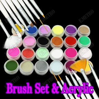 Set 15 Pinceles Manicura Pincel para Uñas UV Gel Pintura+Polvo