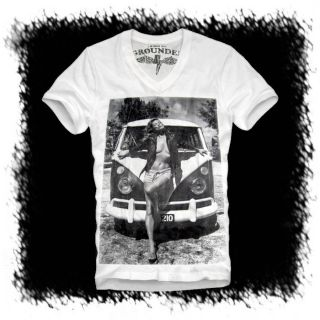 E1SYNDICATE V NECK T SHIRT KATE MOSS (L) VW BUS BULLI T1 T2 T3 SAMBA