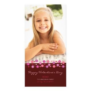 Brown Heart Garland Valentine B Custom Photo Card