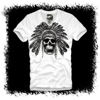 E1SYNDICATE V NECK T SHIRT (L) INDIAN SKULL BIKER MOTORRAD INDIANER