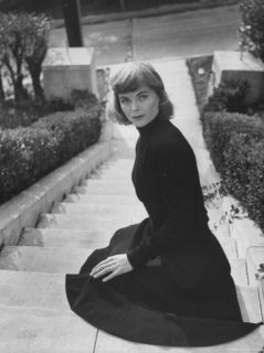 Actress Dorothy McGuire Sitting on Steps Premium Photographic Print by Bob Landry