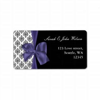 damask violet wedding ,return address label