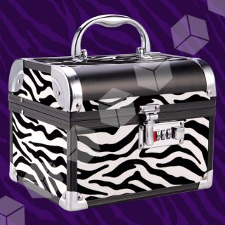 Zebra Beauty Makeup Therapist Artist Cosmetics Case Box with lock #138