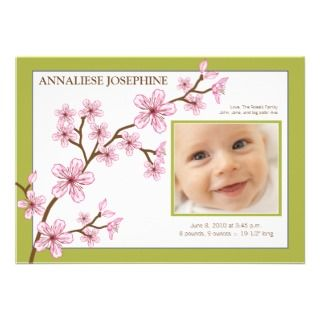 Cherry Blossom Girl Birth Announcement  baby lime