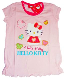 HELLO KITTY * T Shirt * Gr. 92/98 128/134 rosa * seitl. gerafft locker