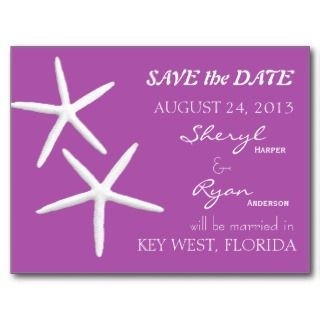 Starfish Light Purple Wedding Announcement Post Cards