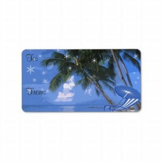 Christmas Palm Tree Gift Tag Label Custom Address Labels