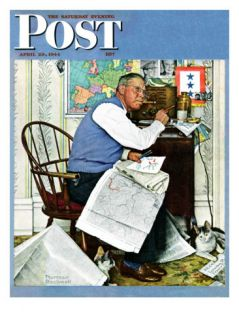 Armchair General Saturday Evening Post Cover, April 29,1944 Giclee Print by Norman Rockwell