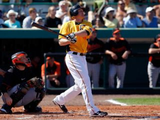 Baltimore Orioles v Pittsburgh Pirates, BRADENTON, FL   FEBRUARY 28: Lyle Overbay Photographic Print by J. Meric