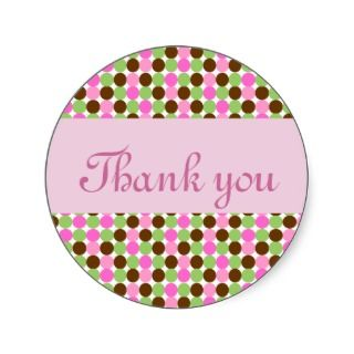 Pink Polka dot girls Thank you greeting card