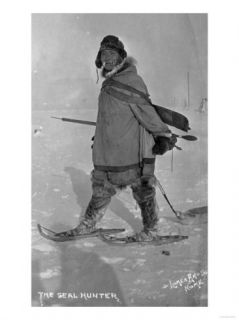Alaskan Seal Hunter with Snowshoes Photograph   Nome, AK Prints
