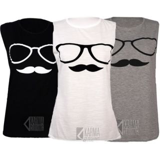 Shirt Damen Tank Top Moustache Schnurrbart Brille Aufdruck Shirt 5