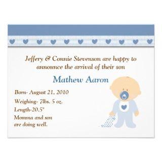 Blue Hearts Cartoon Baby Boy Birth Announcement