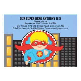 Flying Super Hero Boys Birthday Invitation