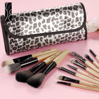 FRÄULEIN3°8 12 PCS WOODEN HANDLE MAKEUP BRUSHES SET W/LEOPARD CASE