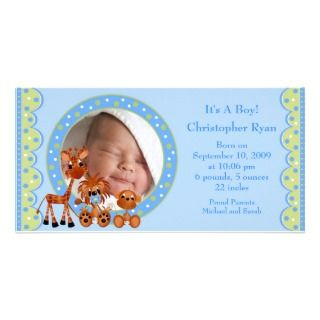 Baby Animals PHOTO Boy Birth Announcement Photo Greeting Card