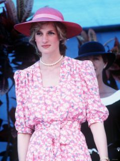 Princess Diana in Australia at the Sydney Opera House Wearing a Pink Floral Dress March 1983 Photographic Print