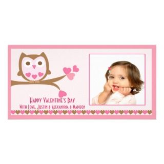 Love Owl Valentines Day Photo Card Template