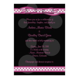 Pink and Black Polka Dots Customizable Invitation invitation
