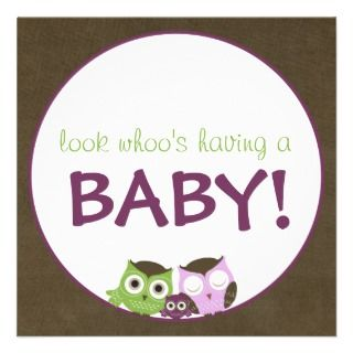 Owl Baby Shower  Green/Blue/Brown Boy Announcement