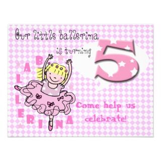 cute pink girls 5th birthday party invitation