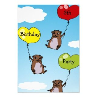 Hamster balloons, 5th birthday party announcement