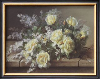 Still Life of Yellow Roses Art by Raoul Victor Maurice Maucherat de Longpre