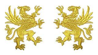 Paar Applikationen Wappen Adler 11 x 6cm Farbe Lurex Gold