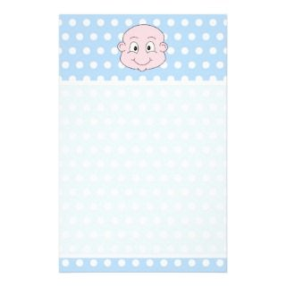 Cute Baby Boy, on blue polka dot pattern. Stationery Paper