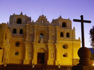 Cross in Front of La Merced at Night, Antigua Guatemala, Guatemala Photographic Print by Ryan Fox