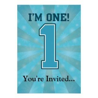 First Birthday Boy, Im One, Big Blue Number 1 Personalized Invites