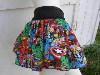 Captain America Thor Hulk retro Comic Book Skirt shirt S 1XL DiY