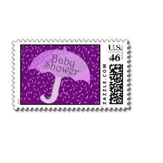 Purple Rain Baby Shower Stamps