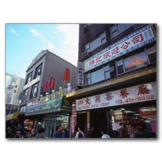 Vintage New York City Chinatown Canal Street Shops Postcard