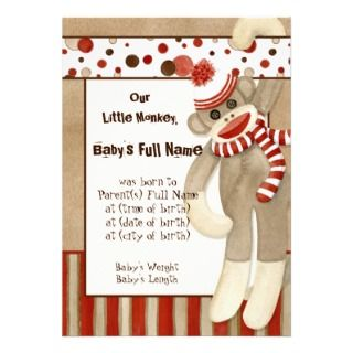 Sock Monkey, Boy Birth Announcement