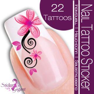 Nail Art Tattoo Sticker Blüte / Ornament   rosa / pink