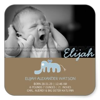 Blue Elephant Baby Boy Birth Announcement Sticker