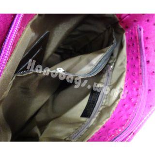 Ladies Italian Genuine Leather Ostrich Print Backpack Shoulder Tote