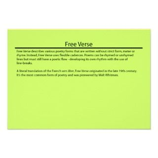 Free Verse Poetry Form Fact Card Custom Invite