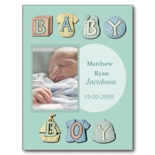 Baby Boy Birth Announcement Thank You Note Card Post Card
