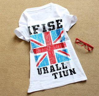 New Pop Vintage England UK British Flag White Slim Embellished T Shirt