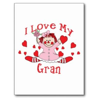 love My Gran Rag Doll & Hearts Post Card