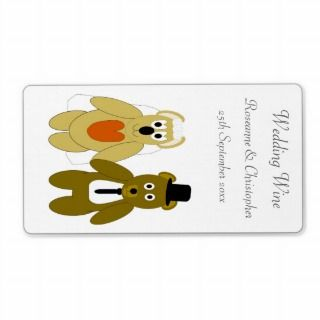 Teddy Bears Wedding Wine Personalized Shipping Label